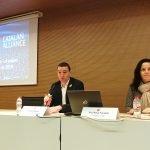 Daniel Marco, director de l'estratègia SmartCatalonia de la Generalitat de Catalunya, i Rosa Paradell, coordinadora de la IoT Catalan Alliance, durant la Jornada Anual 2018